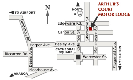 Location of Arthur's Court Motor Lodge